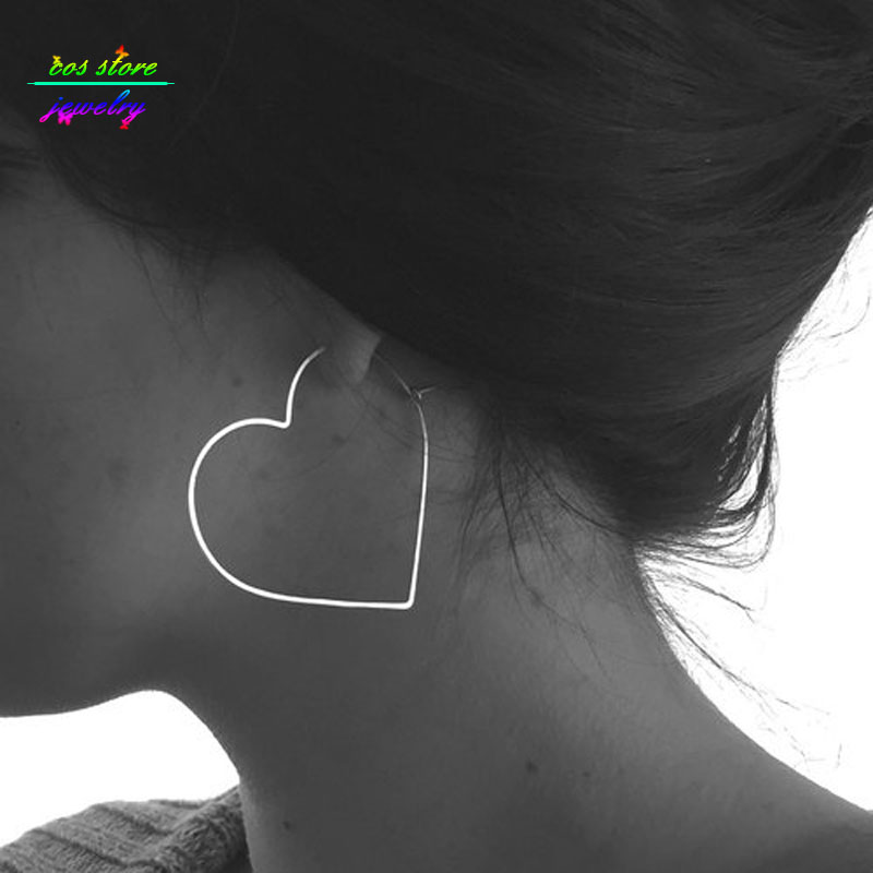 Super Sexy Large Heart Hollow Hoop Earrings For Women Oversized Statement Earrings Friendship Jewelry
