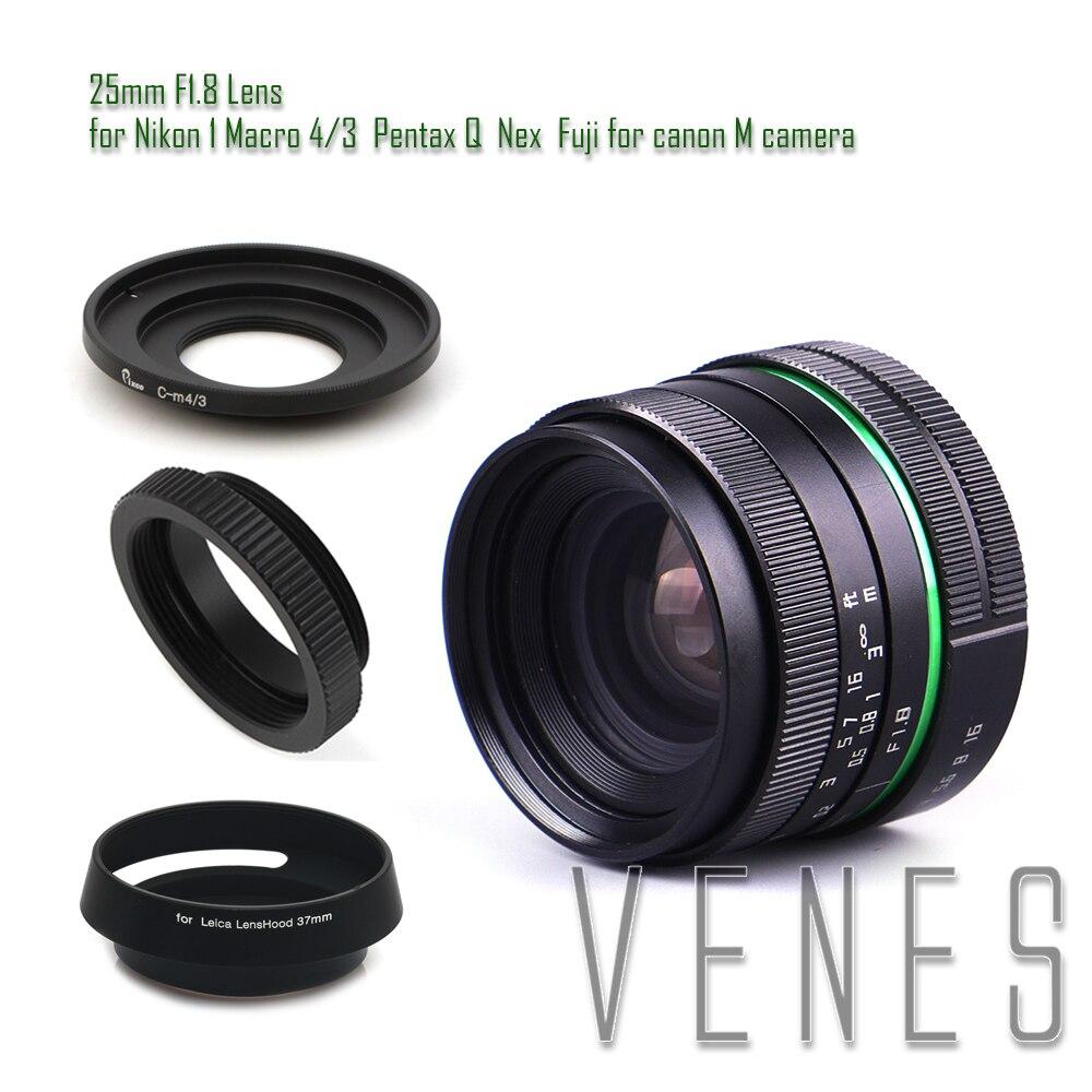 25mm f/1.8 APS-C Lens + Lens Hood + Macro Ring +16mm C Mount adapter for Nikon 1 Micro 4/3 Pentax Q Nex Fuji for canonM camera
