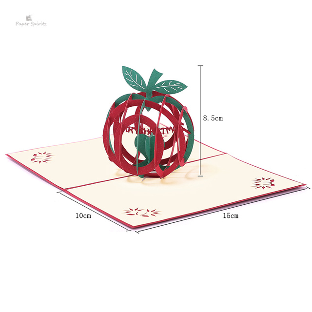 PAPER SPIRITZ Christmas apple laser cut 3d pop up paper card with
