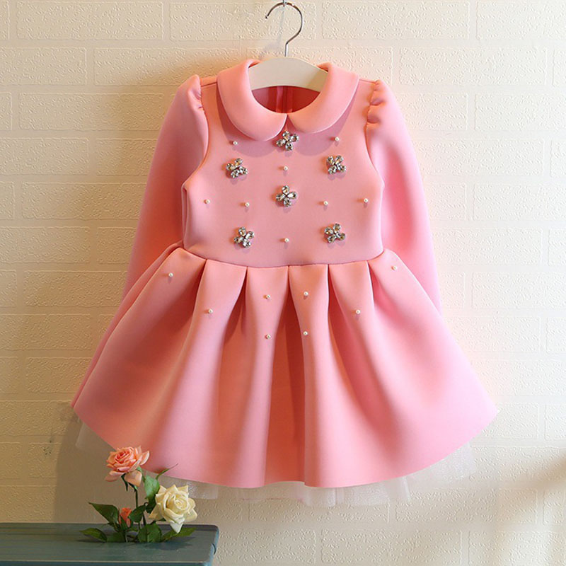 Fashion Long Sleeve Girls Winter Dresses Baby Girl Vestidos Menina Cotton Thick Velvet Child Robe Princesse Enfant