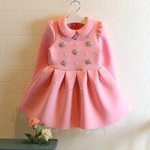 Mode Filles Manches Longues Hiver Robes Bébé Fille Robes Menina Coton Épais Velours Enfant Robe Princesse Enfant