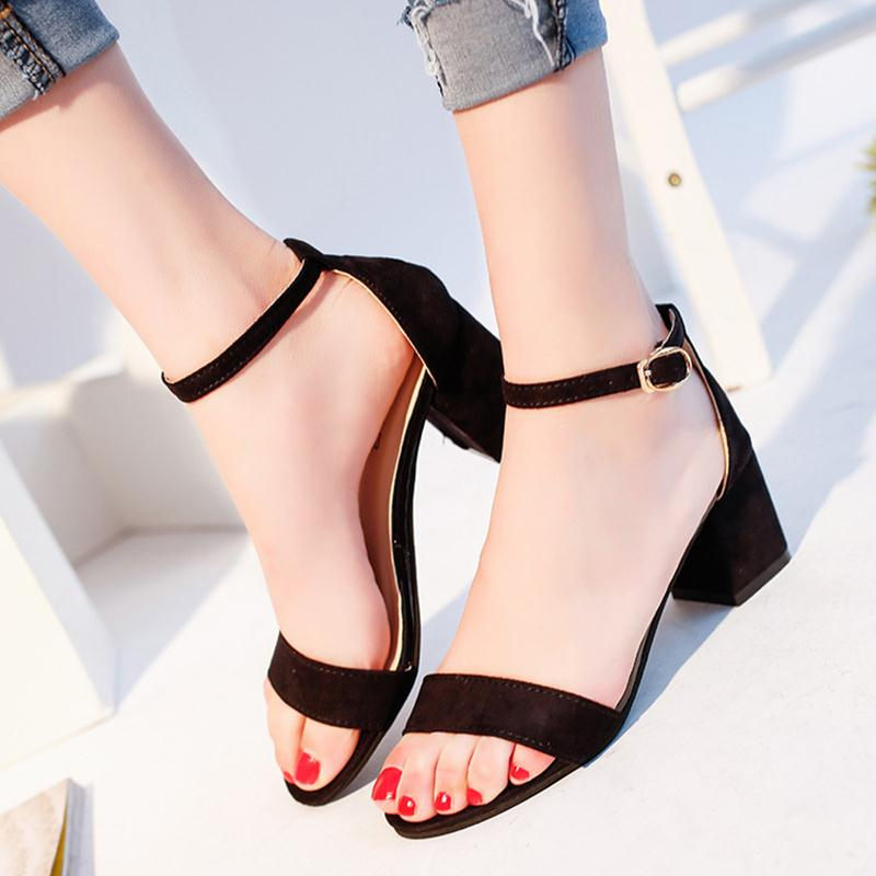 2017 Women Sandals Buckle Strap PU Leather Cover Heel Square Heel Round Toe Summer Fashion Woman Casual Shoes Solid Black / Grey women genuine leather sandals fashion pointed toe causal shoes buckle solid color black pink orange spring shoes square heel