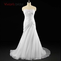 Sexy Mermaid Strapless Wedding Dress White Bridal Gown Wedding Party Dress Robe De Mariage Real Images
