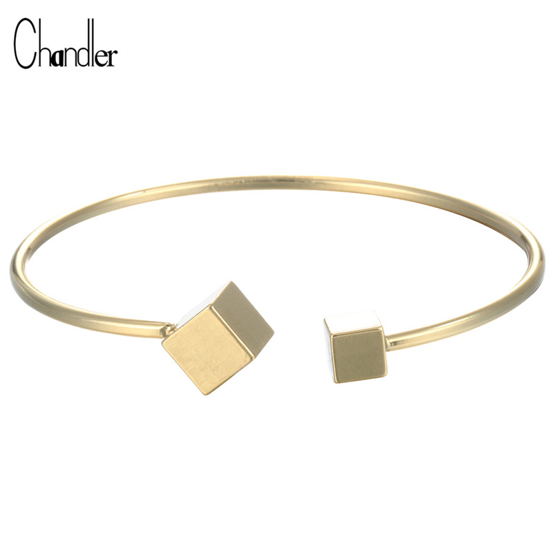Dependable 2017 Brand New Design Double Cube Open Cuff Bangles Plated Women Bracelet Fashion Luxury High Quality Jewelry Drop Shipping Agreeable Sweetness Bracelets & Bangles Jewelry & Accessories
