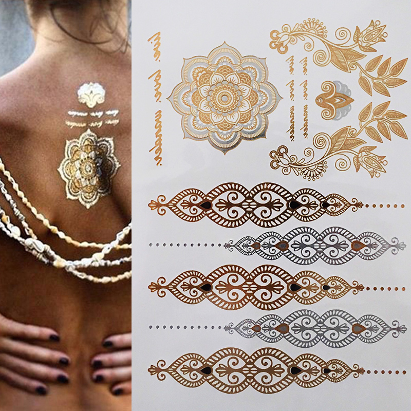 Henna Armband Tattoo: Temporary Flash Einmal Tattoo Classic Gold Armband Hals