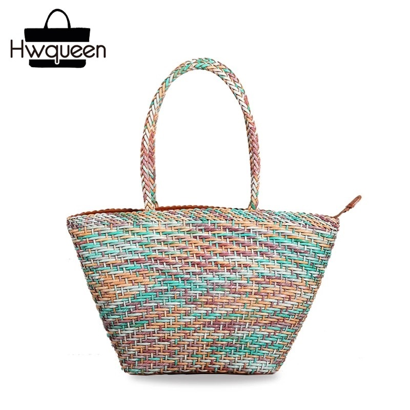 Country Style Genuine Leather Women Small Knitting Designer Totes Bag Top Handle Basket Handbag Ladies Woven Colorful Purse Bag knitting designer genuine cow leather girls ladies small woven wristlets bag vintage handmade female women s day clutches purse
