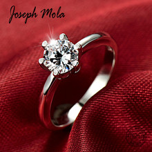 Joseph Mola 100% Sterling Silver 925 Ring 6mm Round Cubic Zirconia Crystal For Women Wedding Anniversary Fine Jewelry Gift