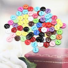 Estone 100pcs 10mm Mixed Color Round Shape Resin Buttons Sewing Accessories Hot