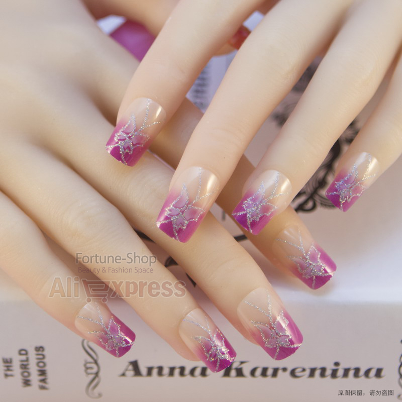 JQ 24pc/set colored nail tips designs with glue pre nail designs ...