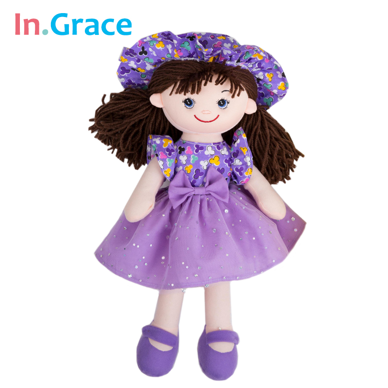 InGrace new flower dress girls dolls summer style with sunhat cute soft cuddle toys for baby girls stuffed and plush toy 5 color стоимость
