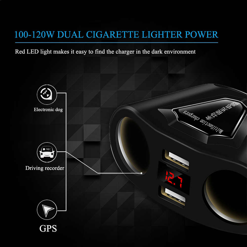 120W 2 Port Cigarette Lighter Sockets Power Adapter With 3.1A Dual USB Car Charger And Current Volmeter Display For Phone GPS