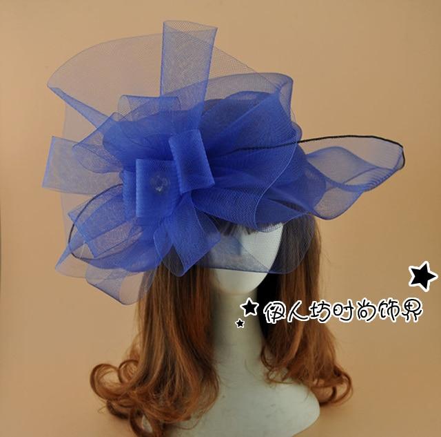 Super grote mesh bloem tovenaars hoed wit rood zwart blauw Vintage - Kledingaccessoires