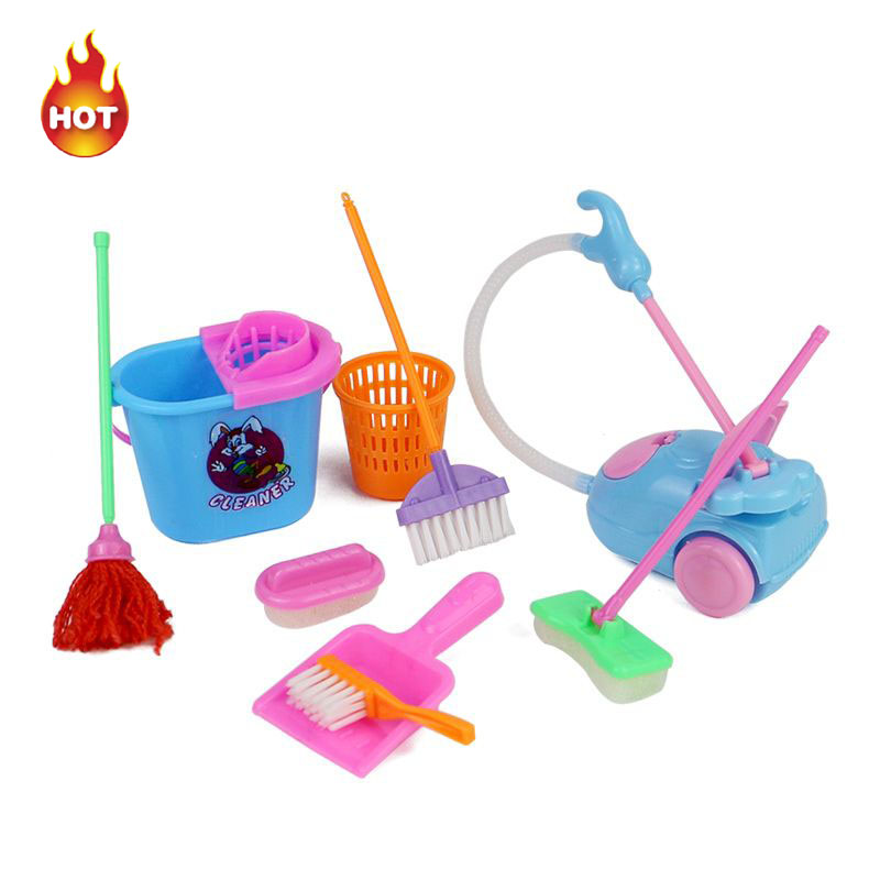9pcs lot delicate doll house cleaning mop broom tools for Limpieza de sofas