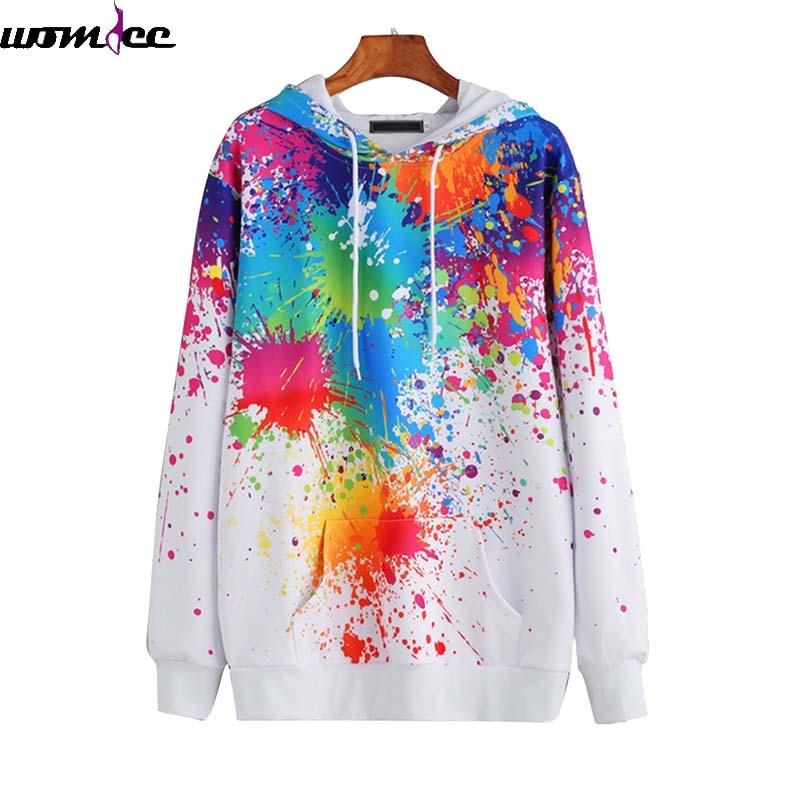 Long Sleeve Sweatshirts Slim Autumn Hooded Pullovers Sudadera M-XXL Loose Women Sweatshirt 3d Graffiti painting Print Men Women