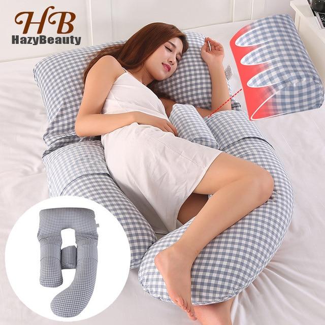 HazyBeauty 100% Cotton Pregnancy Pillow U-Shape Body Pillow Comfortable Maternity Breastfeeding Nursing Pregnant Pillow