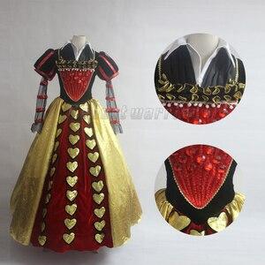 Image 5 - Film Alice im Wunderland cosplay Rote Königin der Herzen Kostüm Phantasie Kleid für erwachsene Cosplay Nach Maß