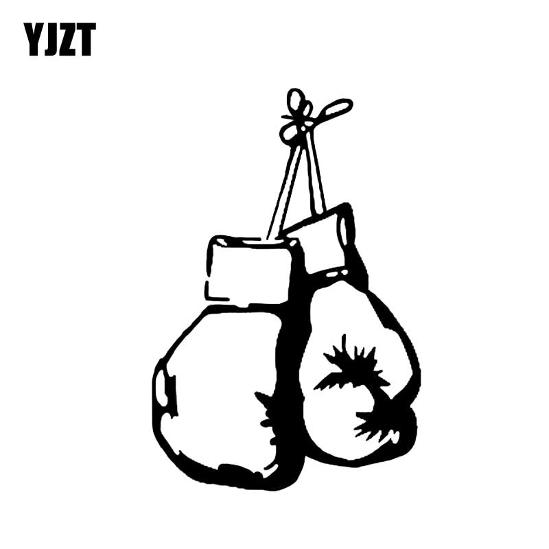 YJZT 9*13.5CM Fashion Boxer Boxing Gloves Decor Car Stickers Vinyl High Quality Decals Extreme Movement C12-0801