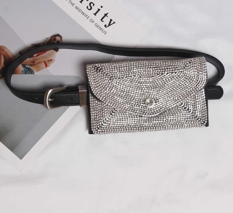 Шикарный бисер PU кожаный пояс с сумкой для женщин Кристалл 2018 тонкий пояс Талия регулируемые подтяжки платье аксессуары панк BT104S50