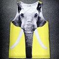 Хип-Хоп мужская Лето Топы Слон/Череп/Акула 3D Печатных Чистая Жилет Фитнес-Джерси FS4630