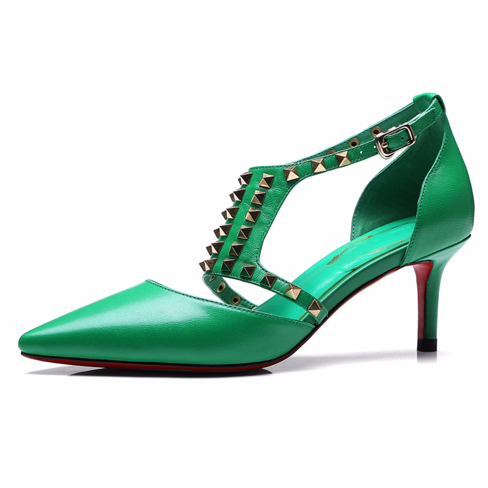 2017 Sexy Pointed Toe Pumps Woman Genuine Leather Sandals Women Party Wedding Shoes Summer Fashion Rivet Thin Belt High Heels new spring summer women pumps fashion pointed toe high heels shoes woman party wedding ladies shoes leopard pu leather