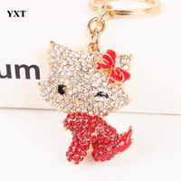 New Body Red Butterfly Cat Cute Crystal Charm Purse Handbag Car Key Ring Keychain Party Wedding Birthday Delicate Gift