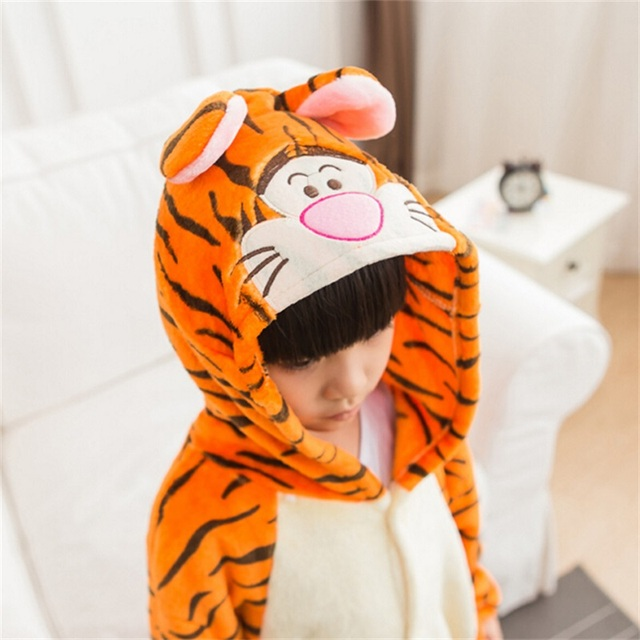 Tiger Pajama Suit For Kids Animal Onesie Winter Warm Flannel Sleepwear Hooded Anime Kigurumi Cosplay Costume Party Cute Fantasy