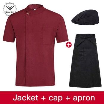 Unisex restaurante uniforme transpirable ropa de trabajo Chef chaquetas uniforme de Chef de Hotel de manga corta para cocina Chef sombrero + delantal