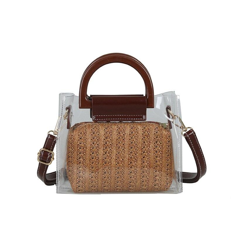 Women Clear Bags Summer Straw Crossbody Shoulder Bags Two Piece Women Transparent Bags Handbag Clutch Purse Brown|Shoulder Bags| |  - title=