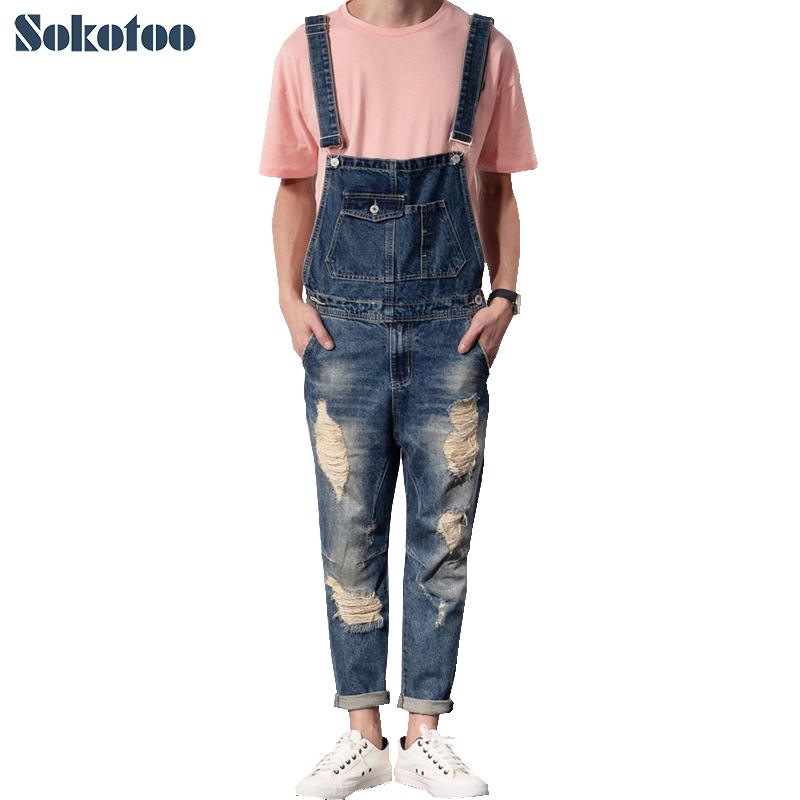 Sokotoo Men's casual slim holes distressed denim bib overalls Ankle length ripped jeans Crop jumpsuits sokotoo men s slim patch pocket denim bib overalls casual suspenders jumpsuits jeans