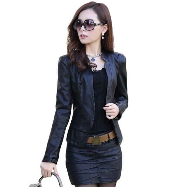 Корейская версия новой PU леди малый кожаный короткий параграф Тонкий тонкий машина универсал куртка женщина большой ярдов костюм