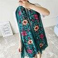 Sistemas de Fluidos bordado flores Pañuelos Señora Impresión Elegante Womem Moda mantón de Las Bufandas del abrigo del mantón