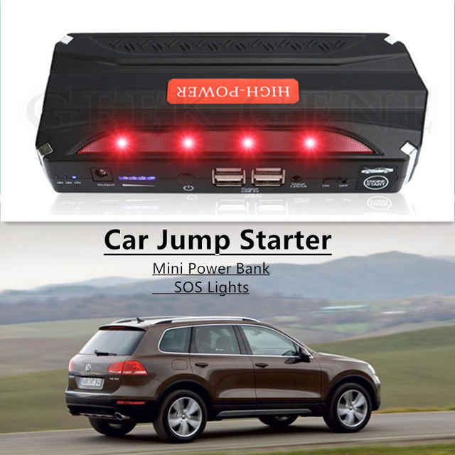 Hot! Multi-Function 12V Petrol Diesel Car Jump Starter Portable 4USB Power Bank SOS Light 600A Peak Car Charger Free Ship