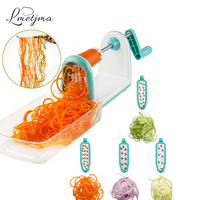 LMETJMA Spiral Vegetable Slicer With 5 Stainless Steel Blades Kitchen Vegetable Spiral Slicer With Food Container