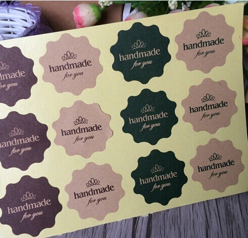 <font><b>120PCS</b></font> Vintage Flower Round Wave Kraft paper'handmade for you'seal <font><b>Sticker</b></font> for Handmade Products DIY multifunctional Gift image