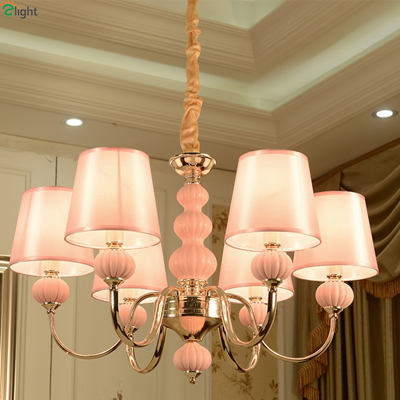 Modern Gold Metal Led Chandeliers Lighting Pink Ceramic Living Room Led Pendant Chandelier Lights Dining Room Led Hanging Light modern led crystal chandelier lights living room bedroom lamps cristal lustre chandeliers lighting pendant hanging wpl222
