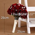 Wine Red Artificial Velvet Rose Flowers Bridal Wedding Bouquets Crystal Pearl Decorated Handmade Bridesmaid Flower