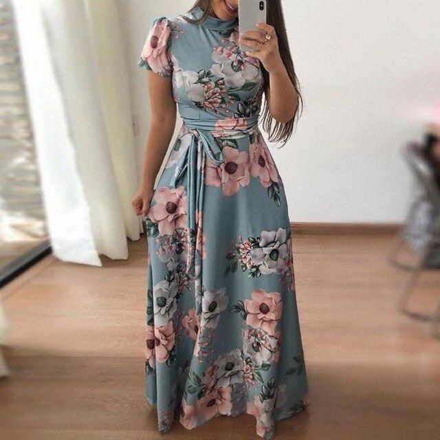 Laamei Women Long Maxi Dress Summer Floral Print Boho Beach Dress Casual Short Sleeve Bandage Party Dress Vestido Plus Size
