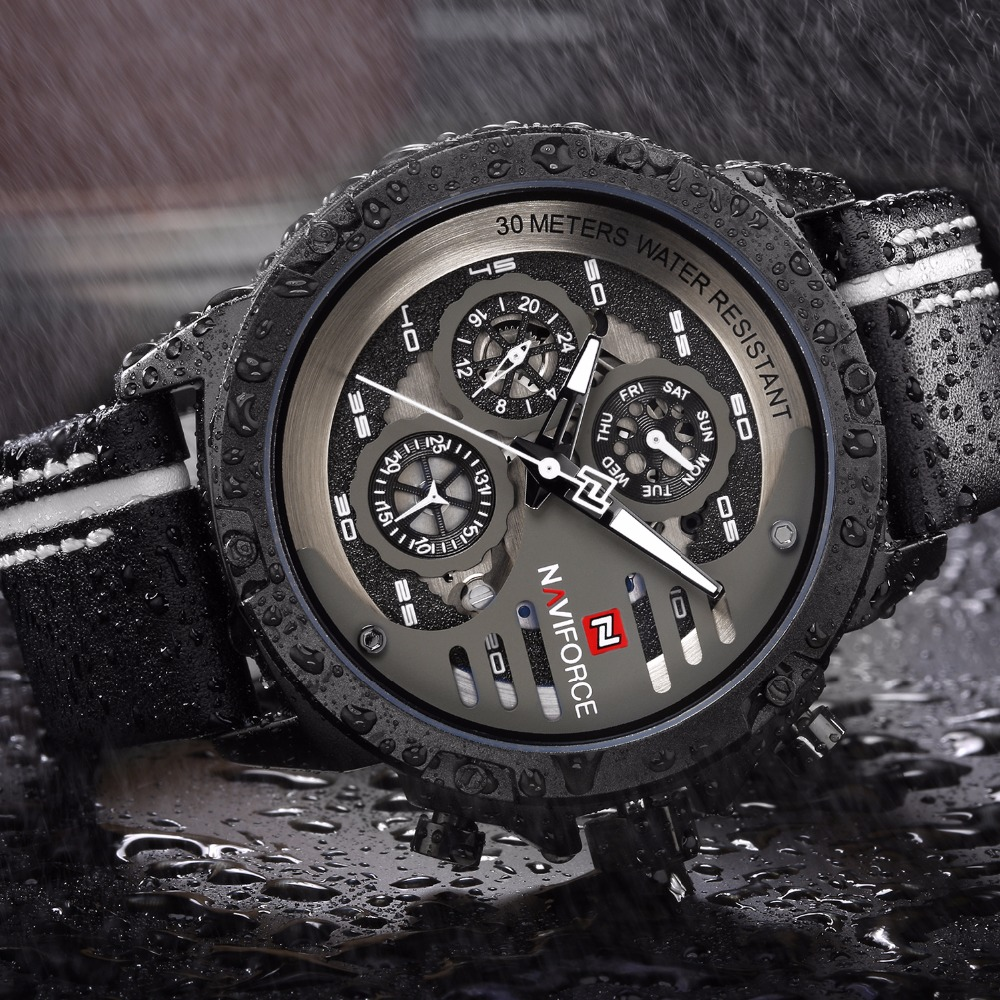 NAVIFORCE Montre Homme Sport Mens Watches Top Brand Luxury Watch Man Waterproof Hour Quartz Leather Men Wristwatches Male Clock high quality luxury brand men sports waterproof watches quartz hour clock men leather strap montre homme with auto date