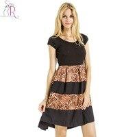Kobiety leopard print mini dress black patchwork krótkim rękawem szczupła O Neck Linii Suknie 2017 Nowa Moda Lato Imperium odzież