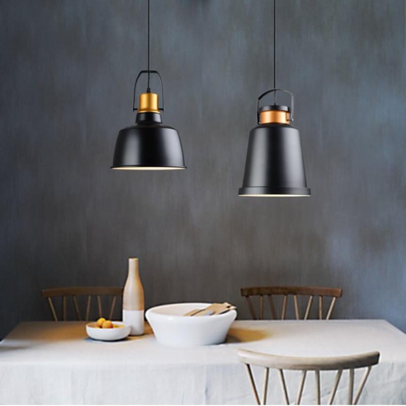 Nordic retro aluminum pendant lights black lamp shade e27 110v nordic retro aluminum pendant lights black lamp shade e27 110v 220v for decor light fixture hanging luminaire aloadofball Gallery