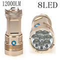 Top Bright 12000Lm XM-L T6 8 LED Tactical Flashlight Torch Camping Lamp Light 18650 battery