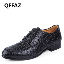 QFFAZ Brand Genuine Leather Oxford Shoes For Men Business Men Crocodile Shoes Men's Dress Shoes Wedding Shoes Man Big Size 38-50