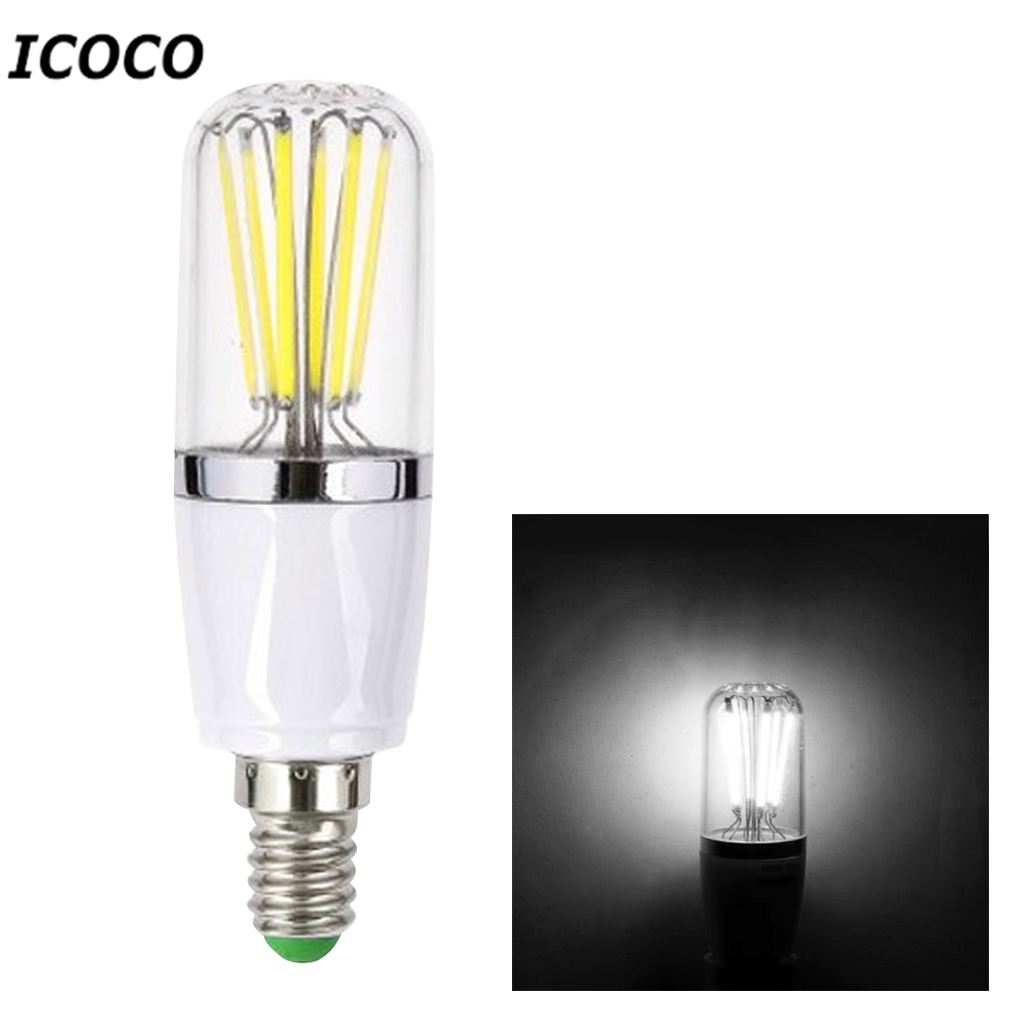 ICOCO High Quality  6W LED COB Filament Bulb E14 AC85-265V Pure White Light Lamp 500lm Flash Deal Promotion Sale high quality 9w epistar led spot bulb e27 base par38 led light 900lm white ac85 265v ce