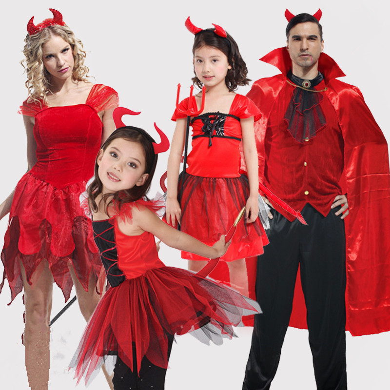 Adults Men Women Girls Red Devil Cosplay Costume For ...