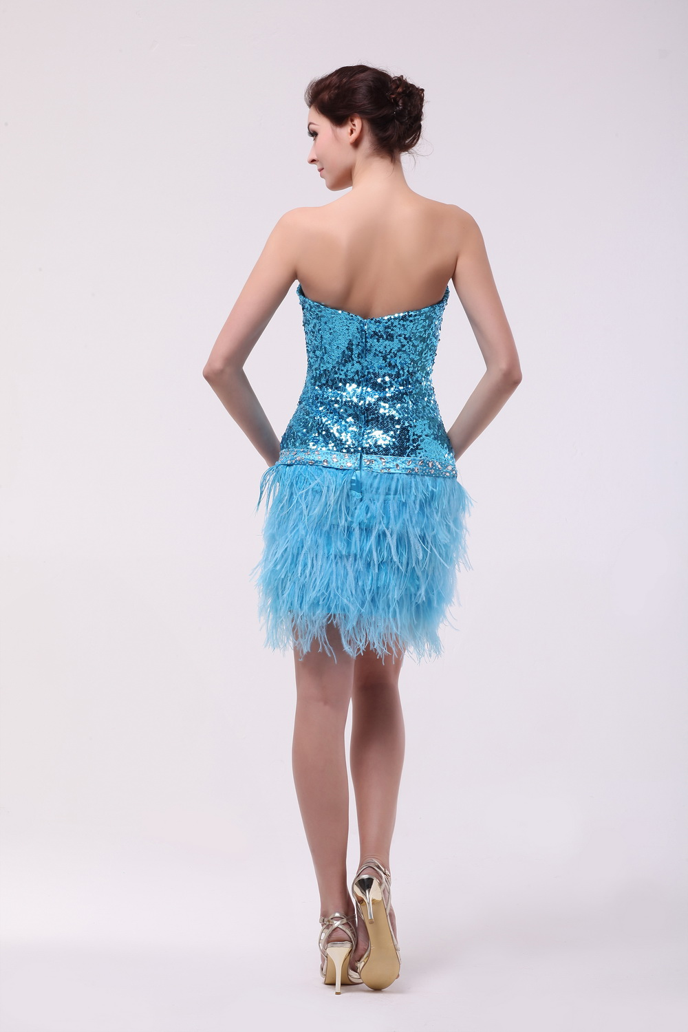 2017 Trend New Short Prom Dresses With Feathers Sweetheart Sequins ...