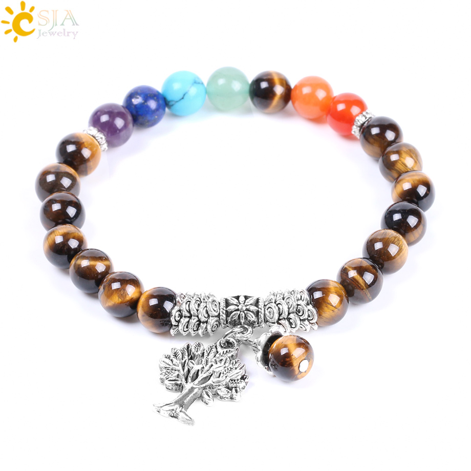 CSJA Tiger Eye Bracelet Men Natural Stone Beads 7 Chakra Elasticity Rope Bangles Antique Silver-color Tree of Life Jewelry F125