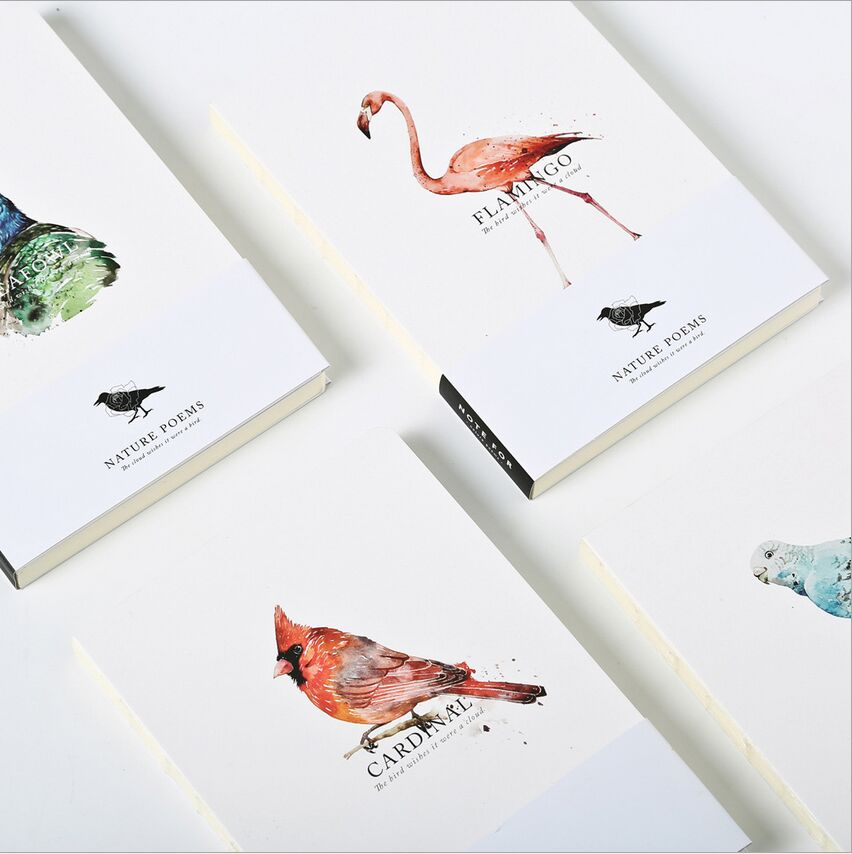 80 Pages Note for Nature poems Flamingo Peafowl Blank Page Notebook Journal DIY  Diary Notepad poems pубашка