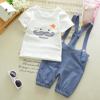 BibiCola letni zestaw ubrań dla chłopców Cartoon maluch niemowlę dziewczynki stroje T-shirt + spodnie na szelkach zestawy ubrań dla dzieci dres tanie i dobre opinie COTTON Moda O-neck Swetry Krótki REGULAR Pasuje prawda na wymiar weź swój normalny rozmiar Czesankowej Płaszcz W paski