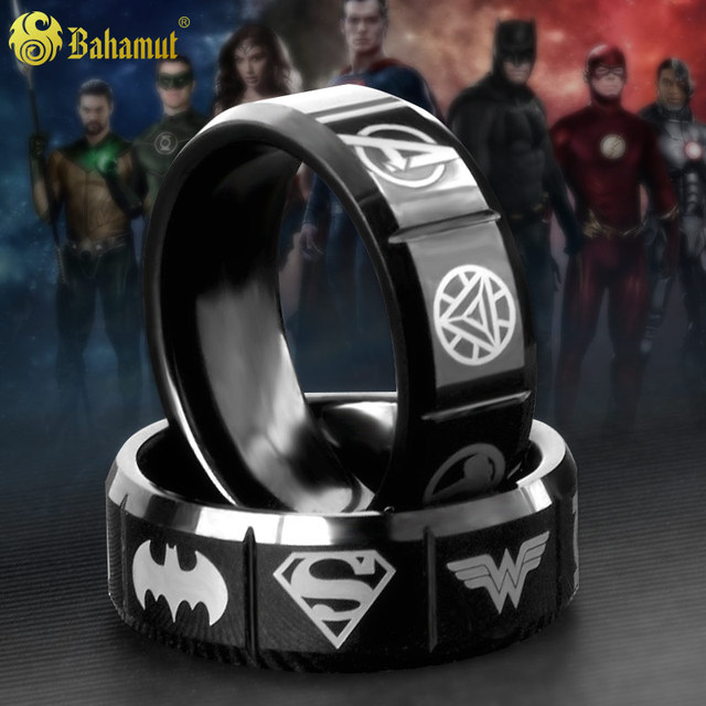 Tungsten Ring Justice League Superman Batman Avengers Captain America 3 Iron Man S.H.I.E.L.D Thor Green Lantern Ring