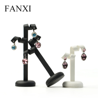 FANXI 3 Pieces Set Earrings Display Black Or White Color PU Leather Earring Display
